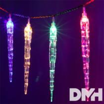 Jégcsap alakú több programos/3m/több színű/30db LED-es/3xAA elemes fénydekoráció