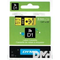 Dymo D1 6mmx7m sárga/fekete feliratozógép szalag