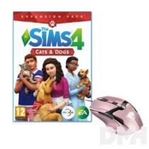 The SIMS 4 Cats & Dogs PC játékszoftver + Trust GXT 101P Gav USB gamer pink egér csomag
