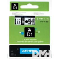 Dymo D1 6mmx7m fekete/áttetsző feliratozógép szalag