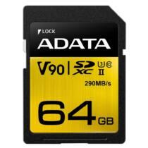ADATA 64GB Premier ONE SDXC UHS-II U3 Class 10, R/W  290/260 MB/s