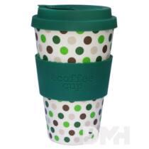 Ecoffee Cup Green Polka 400 ml hordozható kávéspohár