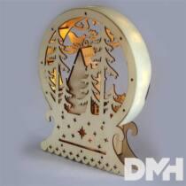Félkör keretes karácsonyi ház 23x28,5cm/meleg fehér LED-es fa fénydekoráció