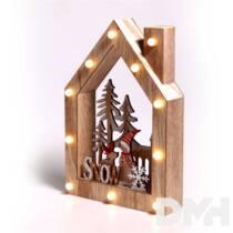 Karácsonyi ház alakú Télapó-rénszarvas mintás/20x30x5,5cm/meleg fehér LED-es fa fénydekoráció