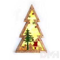 Fenyőfa alakú Télapó mintás/20x29,5x4,5cm/meleg fehér LED-es fa fénydekoráció