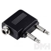 HAMA 43357 Repűlőgép adapter 2x3,5mono-1x3,5 sztereo alj.