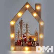Karácsonyi ház alakú madarak mintás/20x30x5,5cm/meleg fehér LED-es fa fénydekoráció