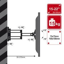 4World LCD 15-32'' falitartó VESA 75/100 dönthető/forgatható 36cm kar max15kg