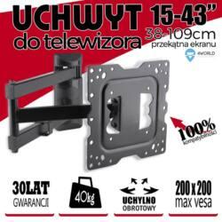 4World LCD 15-43''falitartó VESA 100/200 dönthető/forgatható  max 40kg BLK