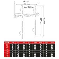 4World LCD/PDP 42''- 84'' falitartó, SLIM EASY FIX, max 70kg