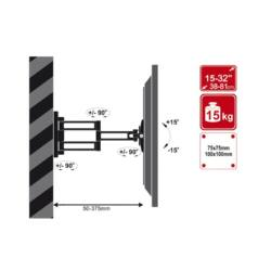 4World LCD 15-32''falitartó VESA 75/100 dönthető/forgatható 36cm kar max15kg BLK