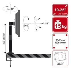 4World LCD 10-32'' asztali állvány dönthető/forgatható/állítható magas.,max15kg