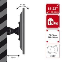 4World LCD 15''-28''falitartó dönthető/forgatható max15kg BLK