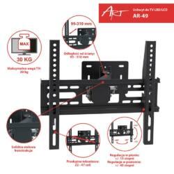 ART AR-49 22-47'' LCD/LED TV tartó fekete 30KG dönthető/fordítható