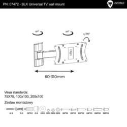 4World LCD/PDP 15-32'' egykarú falitartó dönthető/forgatható max30kg BLK