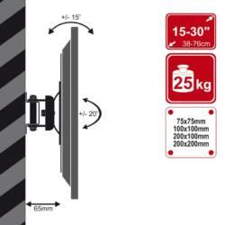4World LCD 15''-43''falitartó VESA 50/200 dönthető/forgatható max 25kg WHT