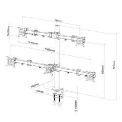 ART L-05 univerzális 5xLCD monitor tartó 13-20''