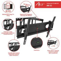 ART AR-52 60kg  LCD/ LED / Plasma TV tartó 30-70'' dönthető/fordítható