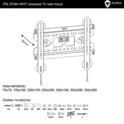 4World LCD 15''- 37'' falitartó, SLIM, max 45kg WHT
