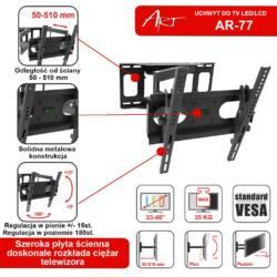 ART AR-77 LCD/LED TV tartó 23-46'' 35kg dönthető/fordítható 51 cm távtartás