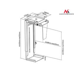 Maclean MC-713 B Adjustable Under-Desk /Wall CPU Mount