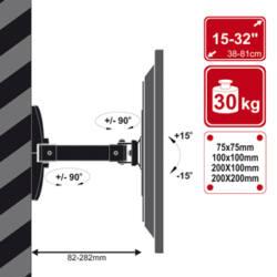 4World LCD 15-32'' falitartó dönthető/forgatható 23cm max 30kg WHT
