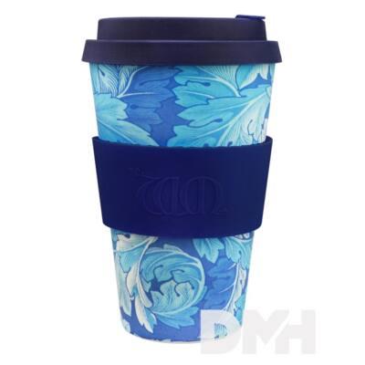 Ecoffee Cup Acanthus 400ml hordozható kék-fehér levélmintás kávéspohár