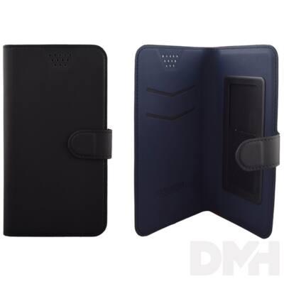 """Max Mobile 5,2""""-ig öntapadós univerzális fekete-kék oldalra nyíló tok"""