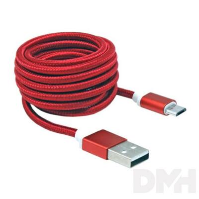 Sbox USB AM-MICRO-15R 1,5m piros Micro USB kábel