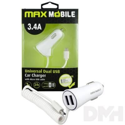 Max Mobile 3.4A univerzális 2xUSB fehér autós töltő micro USB kábellel