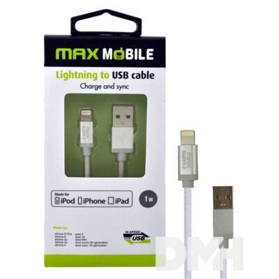 Max Mobile iPhone 5/6/7 MFI ezüst adatkábel