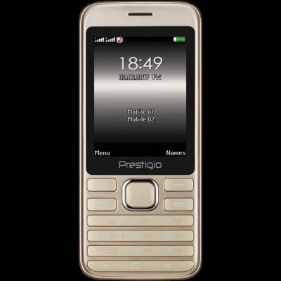 Prestigio Grace A1, 2.8'' (240*320) display, Dual SIM, MT6261D, GSM 900/1800, 32MB DDR, 32MB Flash, micro SD cards support up to 32GB, 0.3MP rear camera, Bluetooth, FM, 950mAh battery, EN keyboard,color/Golden