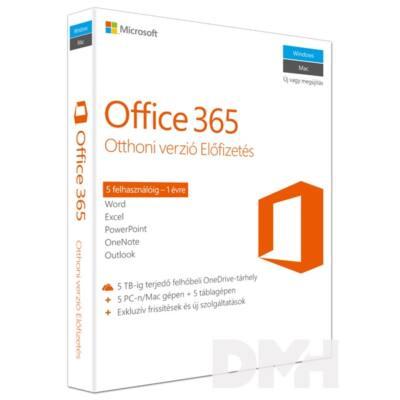 Microsoft Office 365 Otthoni verzió P2 HUN 5 Felhasználó 1 év dobozos irodai programcsomag szoftver