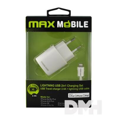 Max Mobile iPhone 5/6/7 töltő + 2.4A MFI kábel 2in1 szett