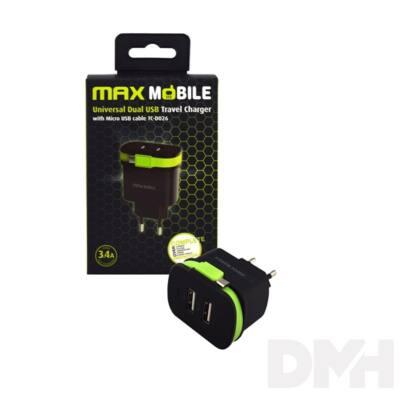 Max Mobile 3.4A univerzális 2xUSB fekete-zöld hálózati töltő Micro USB kábellel