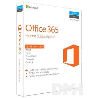 Microsoft Office 365 Otthoni verzió P2 ENG 5 Felhasználó 1 év dobozos irodai programcsomag szoftver