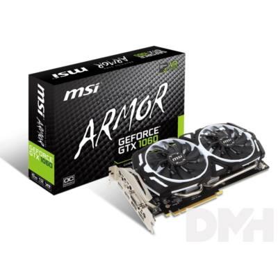 MSI GTX 1060 Armor 6G OCV1 nVidia 6GB GDDR5 192bit PCIe videokártya