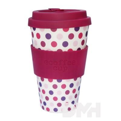 Ecoffee Cup Pink Polka 400 ml hordozható kávéspohár