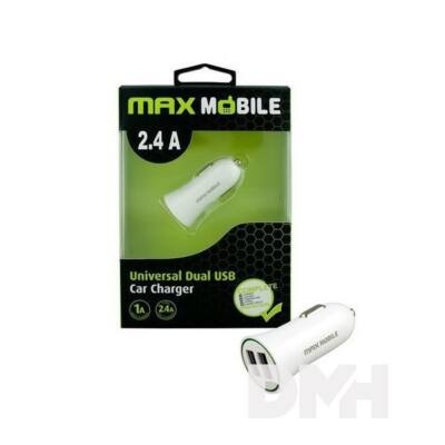 Max Mobile SC-106 2.4A fehér duó USB autós töltő