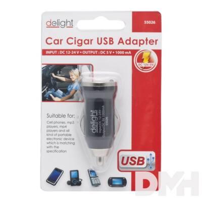 Delight Autós Fekete USB aljzattal szivargyújtó adapter