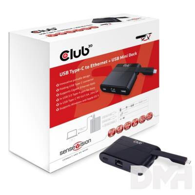 CLUB3D SenseVision USB 3.0 C - USB 3.0 A , USB 3.0 C, RJ45 Mini Dock