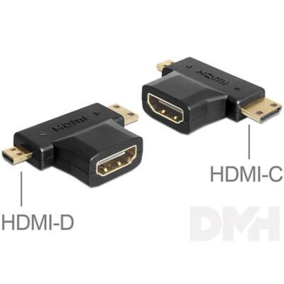 Delock 65446 HDMI-A anya > HDMI-C + HDMI-D apa adapter