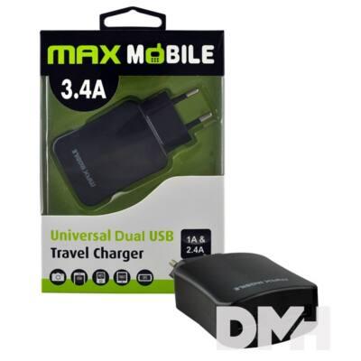 Max Mobile TR-019 3.4A fekete duó hálózati töltő