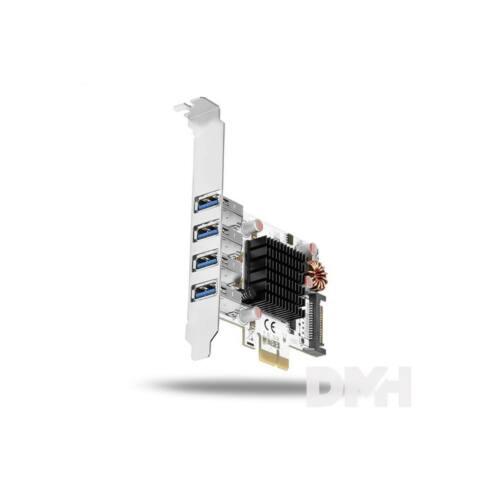 Axagon PCEU-43VQ 4 db külső USB3.0 portos 1 sávos LP támogatott HQ PCI-Express kártya
