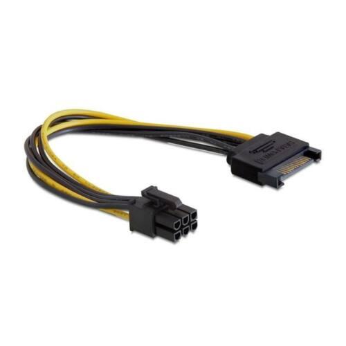 Delock tápkábel, SATA 15 pin -> PCI Express 6pin, 0.21m