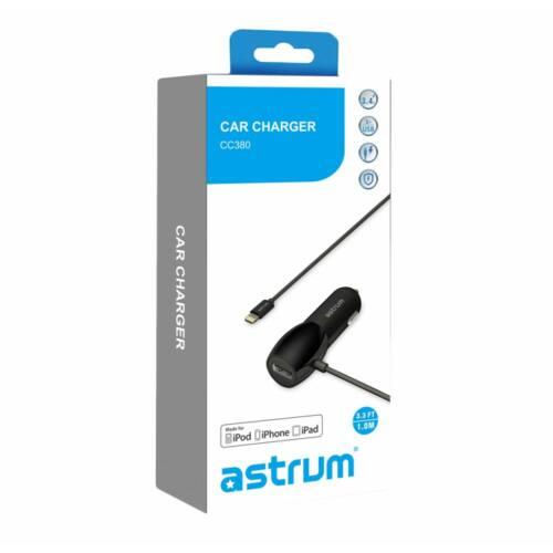 ASTRUM Autós USB töltő beépített adatkábellel (iPhone, iPad, iPod) CC380