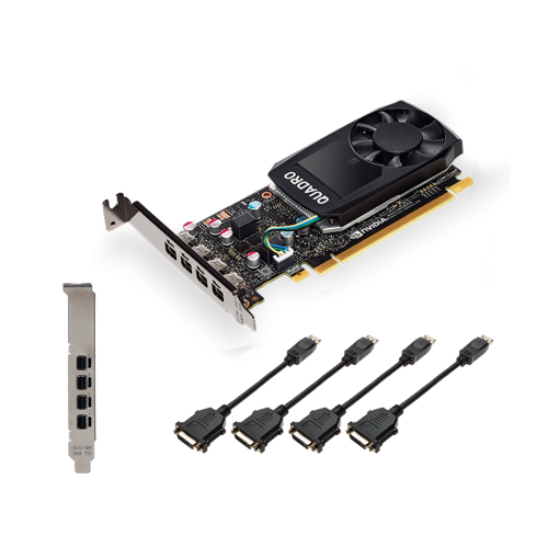 PNY NVIDIA Quadro P620 DVI, 2GB GDDR5 (128 Bit), 4x miniDP (4x mDP to DVI-D), LP