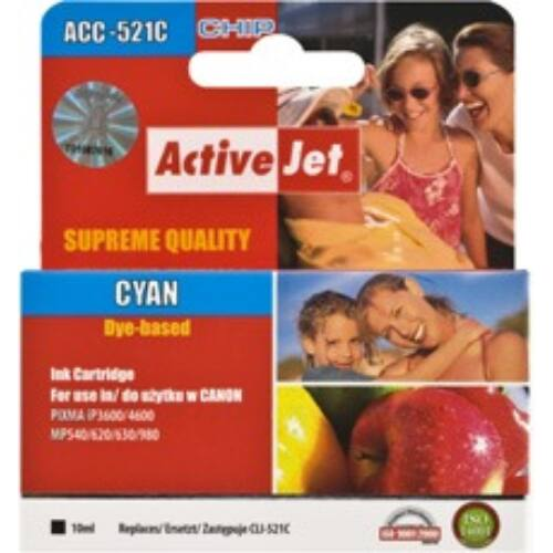 ActiveJet tinta, ACC-521CN | Cyan | 10 ml | Chip | Canon CLI-521C