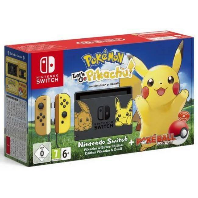Nintendo Switch + Pokemon Let's Go Pikachu + Poke Ball