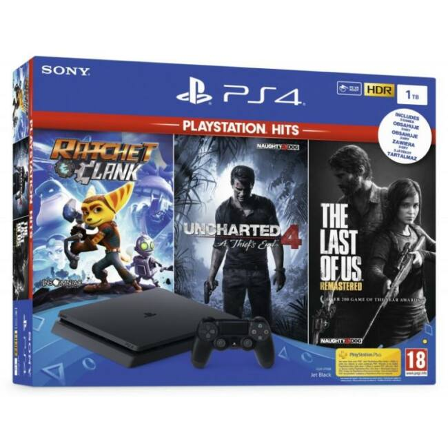 PS4 1TB Slim + Uncharted 4 + The Last of Us Remastered + Ratchet & Clank
